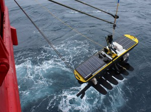 Gliders: A wave glider being deployed on the SANAE 53 voyage