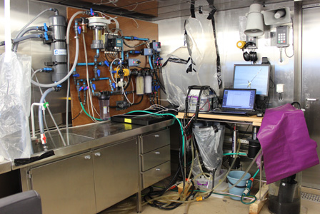 The underway IOP system and accessory instruments in the wet laboratory on the SA Agulhas II.