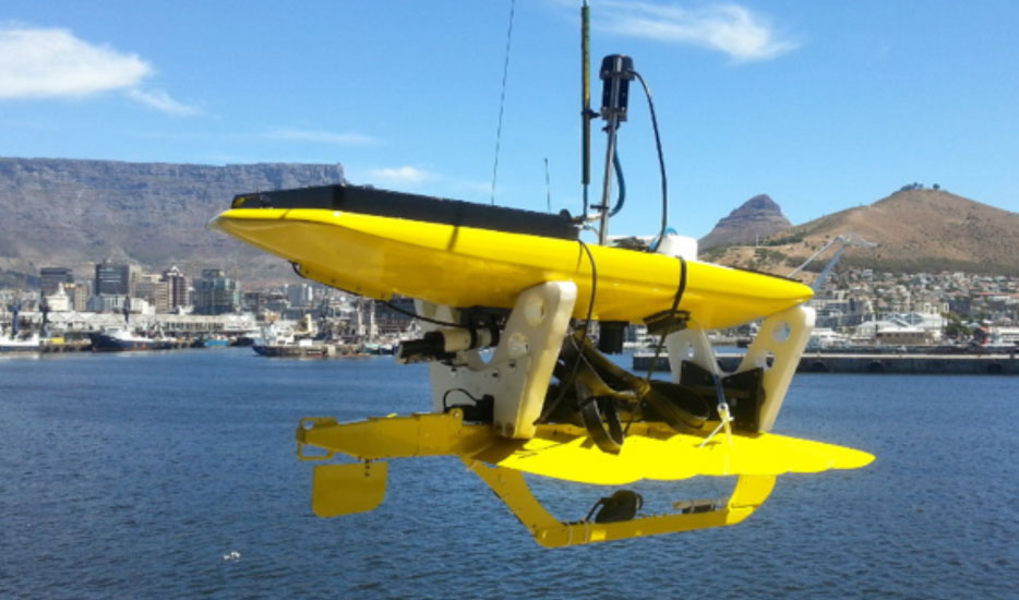 A newly acquired CO2 measuring wave glider being transported in Cape Town, South Africa before deployment into the Subantarctic Zone.