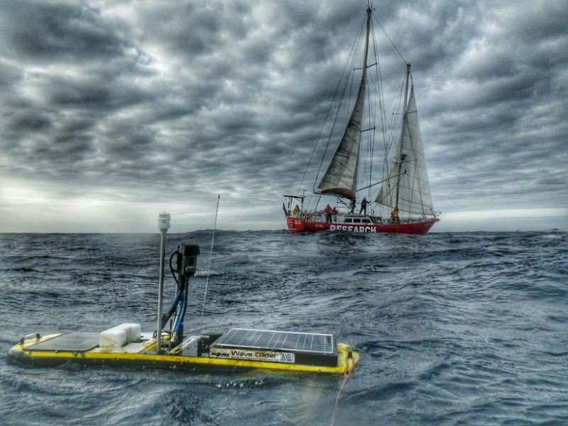 Wave Glider measuring momentum flux and the partial pressure of carbon dioxide in the Southern Ocean, with the R/V Lady Amber in the background.  Credit: Frederick-Willem Fourie