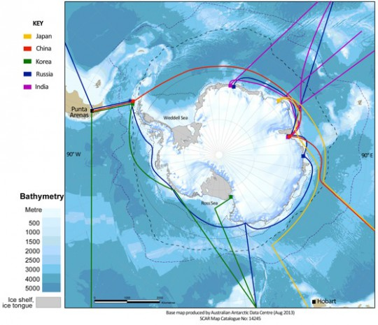Map of the Southern Ocean and approximate location of regular shipping transects maintained by Asian nations.