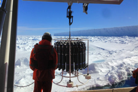 A CTD station being completed at the Antarctic ice shelf to investigate the diurnal and event scale variability of upper ocean physics and biogeochemistry in the ice impacted polar seas.