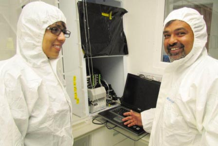 Figure 3: Prof Alakendra Roychoudhury and Natasha van Horsten inside a trace metal clean laboratory at SUN, showing the Flow Injection Analyzer for measuring Fe concentration in seawater on land (photo credit: Wiida Fourie-Basson, Stellenbosch University).