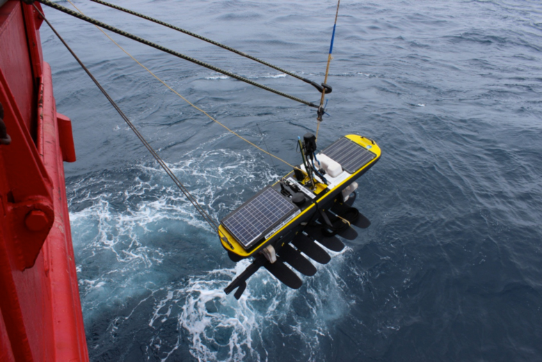 A Wave Glider is deployed into the Southern Ocean - a first for science and robotics engineering. This glider experiment lasted 4.5 months where both Seagliders and Wave Gliders were used to sample the spring to summer physics and gas fluxes in the Subantarctic region.
