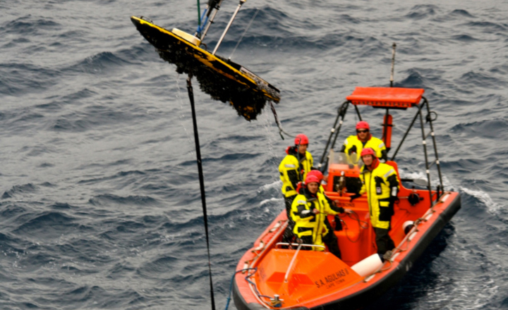 A Wave Glider being retrieved