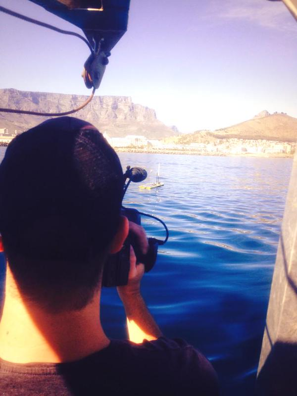 Carte Blanche camera team catch some visuals of a Wave Glider doing work off Cape Town