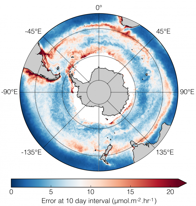 The spatial variability of the FCO2 uncertainties, which arise from a uniform 10 day sampling period choice. The Southern Ocean is characterized with uncertainties of 10–25% (10–25 μmol m2 h1) at this sampling period.
