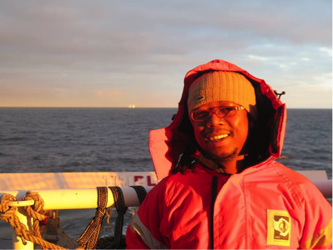 Dr. Thato Mtshali (Chief scientists) during SOSCEx III summer cruise.