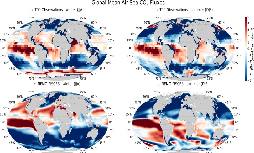 Global ocean summer and winter air-sea CO2 flux climatologies contrasting Takahashi, 2009 (T09) observations for reference year 2000 (a–b), and NEMO-PISCES (1993–2006) (c–d), units mmol C m−2 day. It shows seasonal climatological biases between the model and observations in the Southern Ocean.